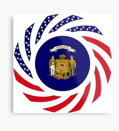 Wisconsin Murican Patriot Flag Series Metal Print