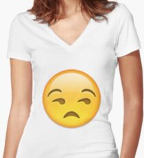 Annoyed Emoji Women's Fitted V-Neck T-Shirt