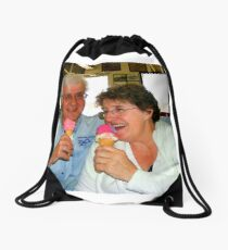Enjoying a Good Laugh Together Drawstring Bag