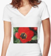 Floral Intricacy Women's Fitted V-Neck T-Shirt