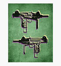 Mini Uzi Sub Machine Gun on Green Photographic Print