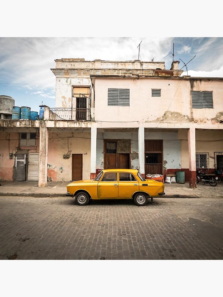 Bright yellow vintage car in La Havana, Cuba. by jonathankemp