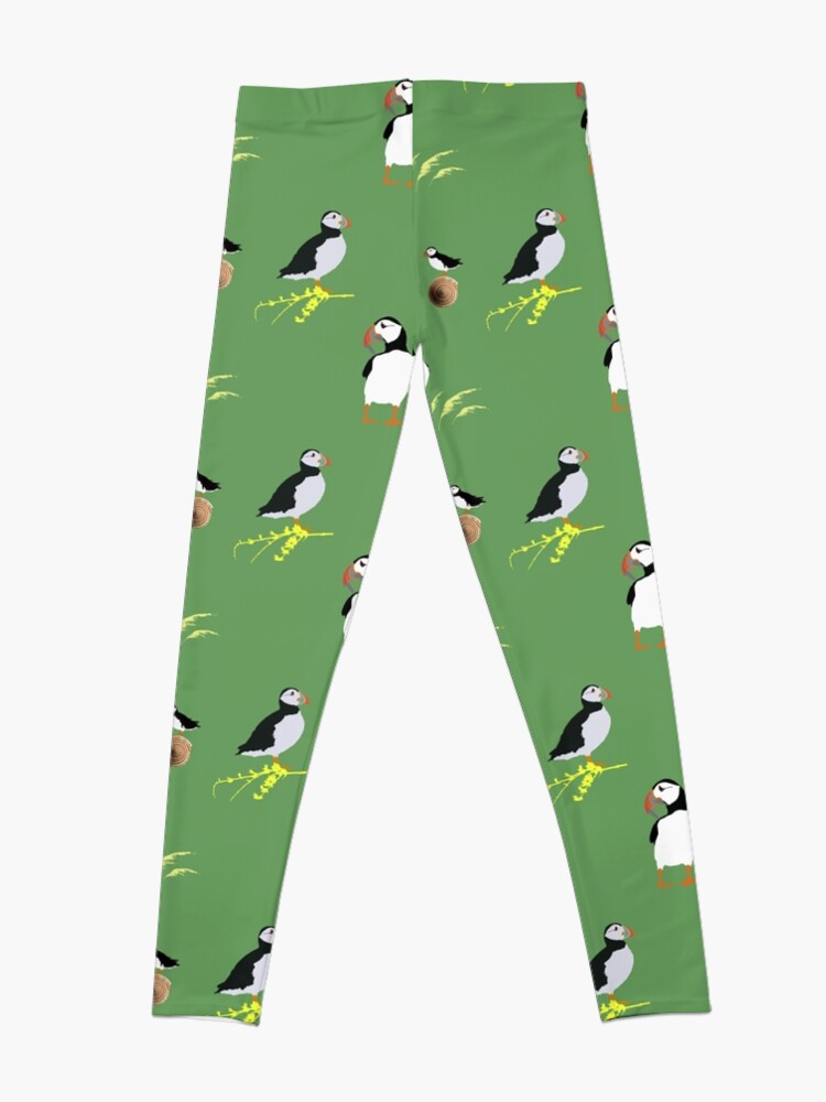 Alternate view of Puffins in green Leggings