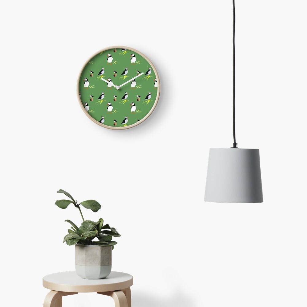 Puffins in green Clock