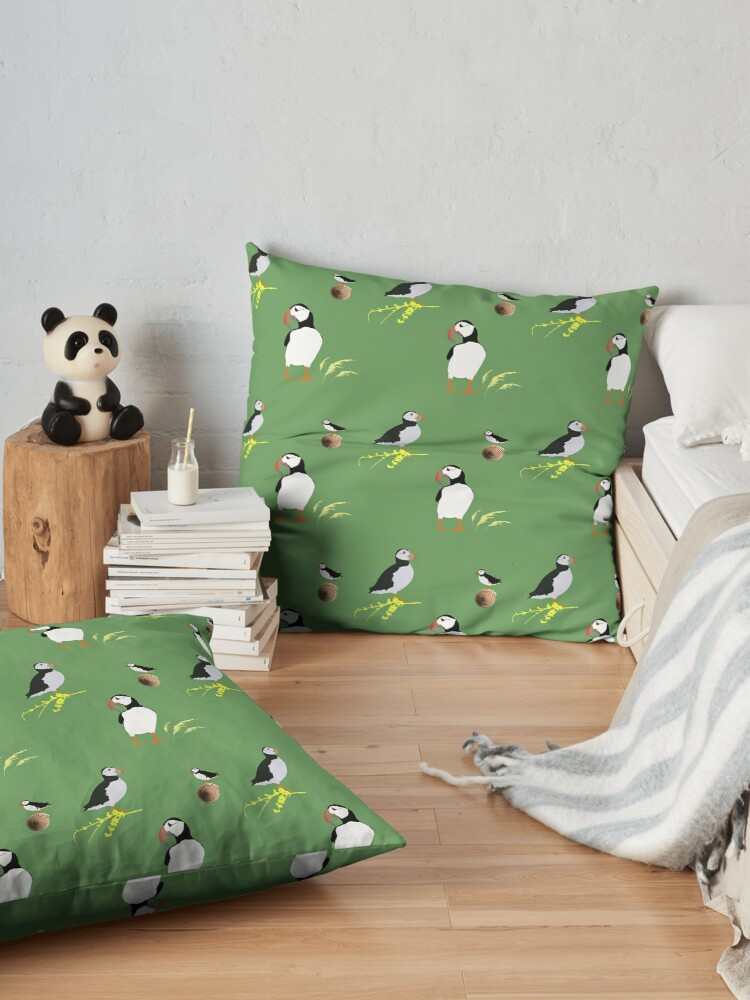 Alternate view of Puffins in green Floor Pillow