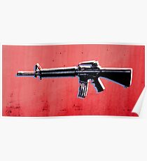 M16 Assault Rifle on Red Poster