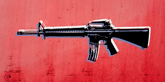 M16 Assault Rifle on Red by Michael Tompsett