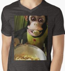 Musical Jolly Chimp Enjoys His Cereal Men's V-Neck T-Shirt