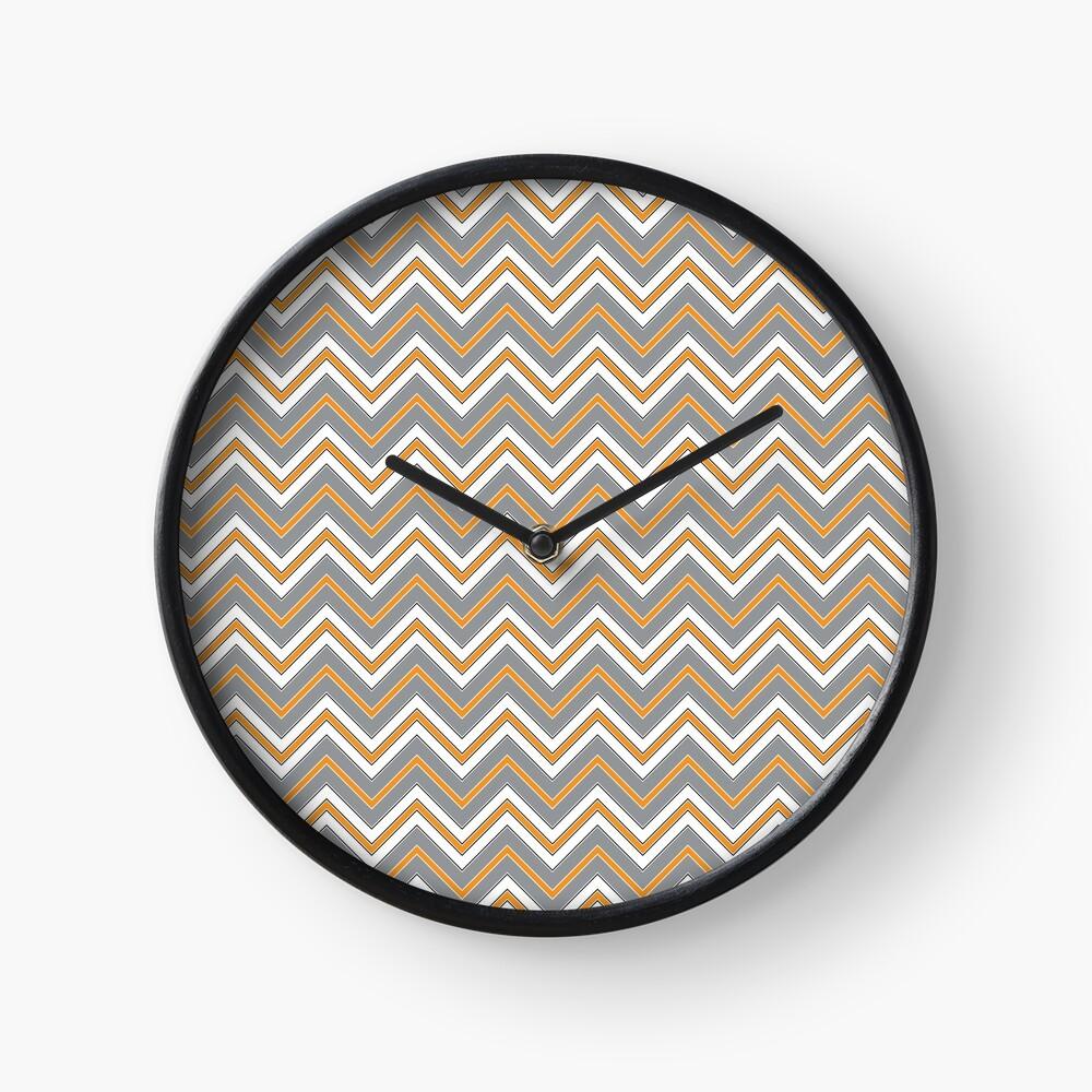 Chevron Pattern | Zig Zags | Orange, Grey, Black and White | Stripe Patterns | Striped Patterns | Clock