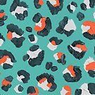 Leopardenmuster - Mandarine & Türkis Palette von Cat Coquillette