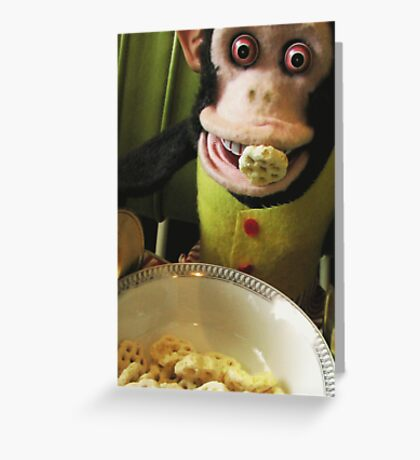 Musical Jolly Chimp Enjoys His Cereal Greeting Card