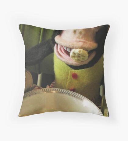 Musical Jolly Chimp Enjoys His Cereal Throw Pillow