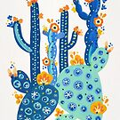 Kaktus-Garten-Acryl - Blau von Cat Coquillette