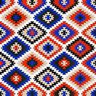 Gemischtes Stammesmuster - Rot, Weiß, Blau von Cat Coquillette