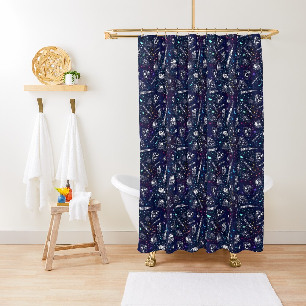 Off to the Moon Shower Curtain