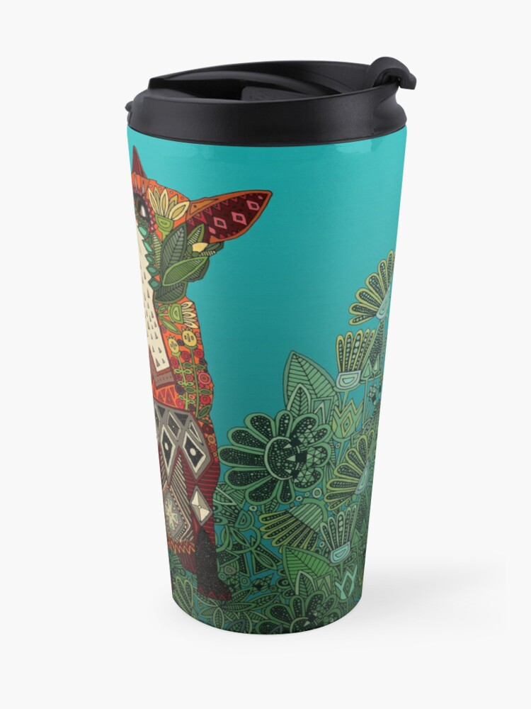 Alternate view of floral fox Travel Mug