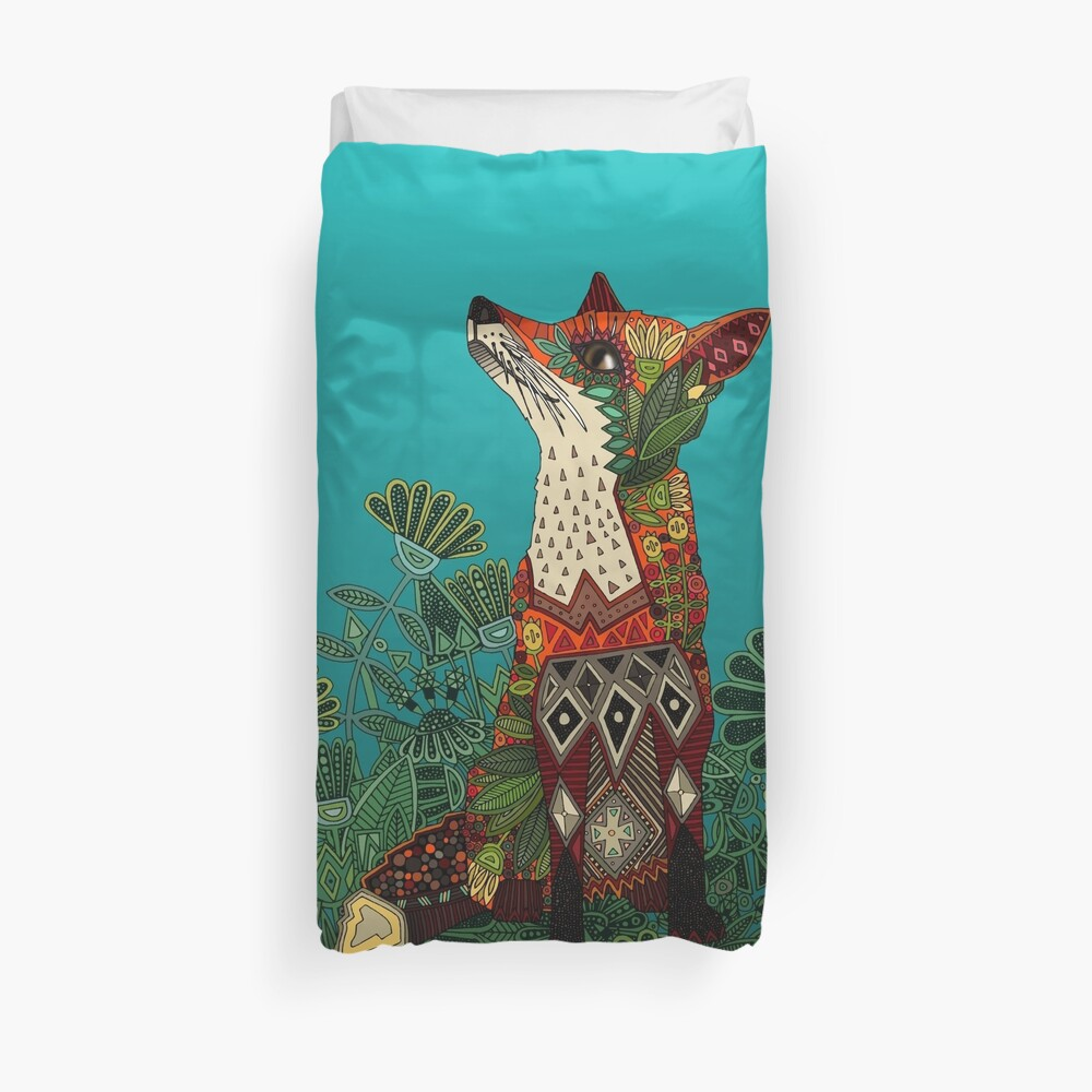 floral fox Duvet Cover