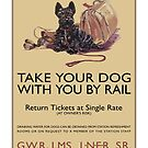 «Vintage Great Western Railway, LNER, SW, LMS Rail Travel Dog Poster» de Maljonic