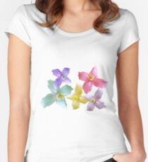 Gorgeous pink, yellow, purple, blue colorful flowers in black background Women's Fitted Scoop T-Shirt