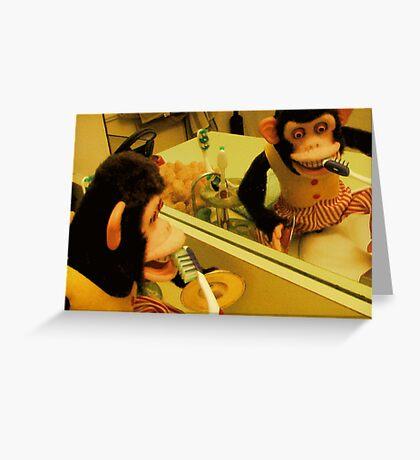 Musical Jolly Chimp Brushes His Teeth Greeting Card