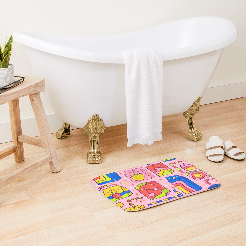 Juice Box Print Bath Mat