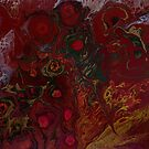 Bed of Roses: fluid acrylic pour art; abstract flower art by kerravonsen