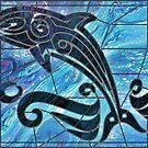 Blue Dolphin: fluid art, acrylic pour art; digital art; sea life art by kerravonsen