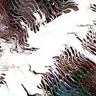 Conflicting Ideologies: fluid acrylic pour art, digital art; abstract painting by kerravonsen