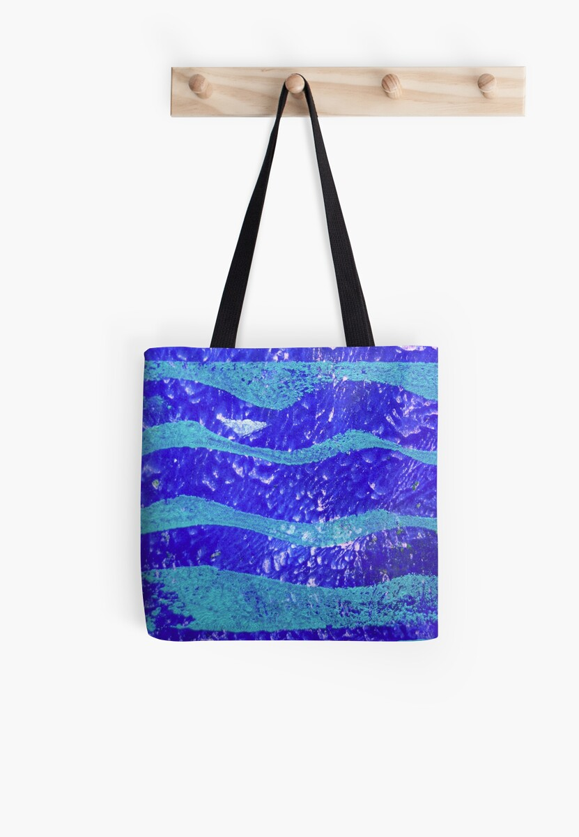 Abstract Waves Blue Monoprint by Heatherian
