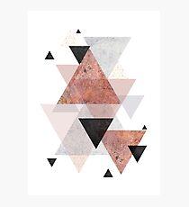 Geometrische Anordnung in Blush, Rose Gold und Schwarz Fotodruck