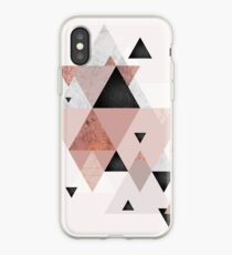 Geometric Compilation in Rose Gold and Blush Pink iPhone Case