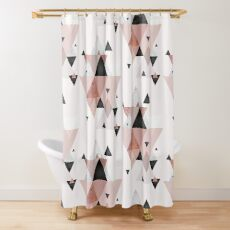Geometric Compilation in Rose Gold and Blush Pink Shower Curtain
