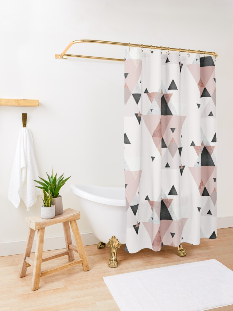 Alternate view of Geometric Compilation in Rose Gold and Blush Pink Shower Curtain