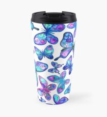 Watercolor Fruit Patterned Butterflies - aqua and sapphire Travel Mug