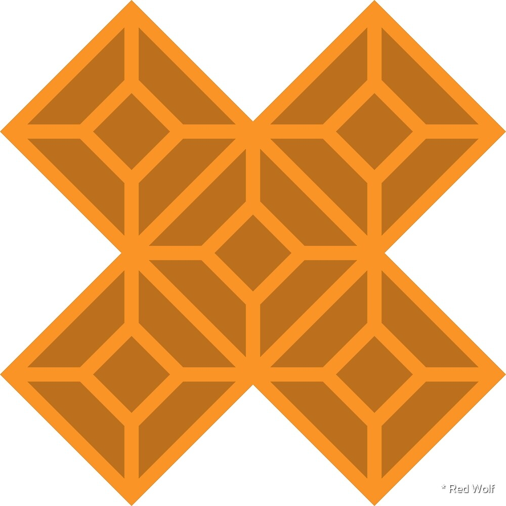 Geometric Pattern: Diamond Tile: Dark Orange by * Red Wolf