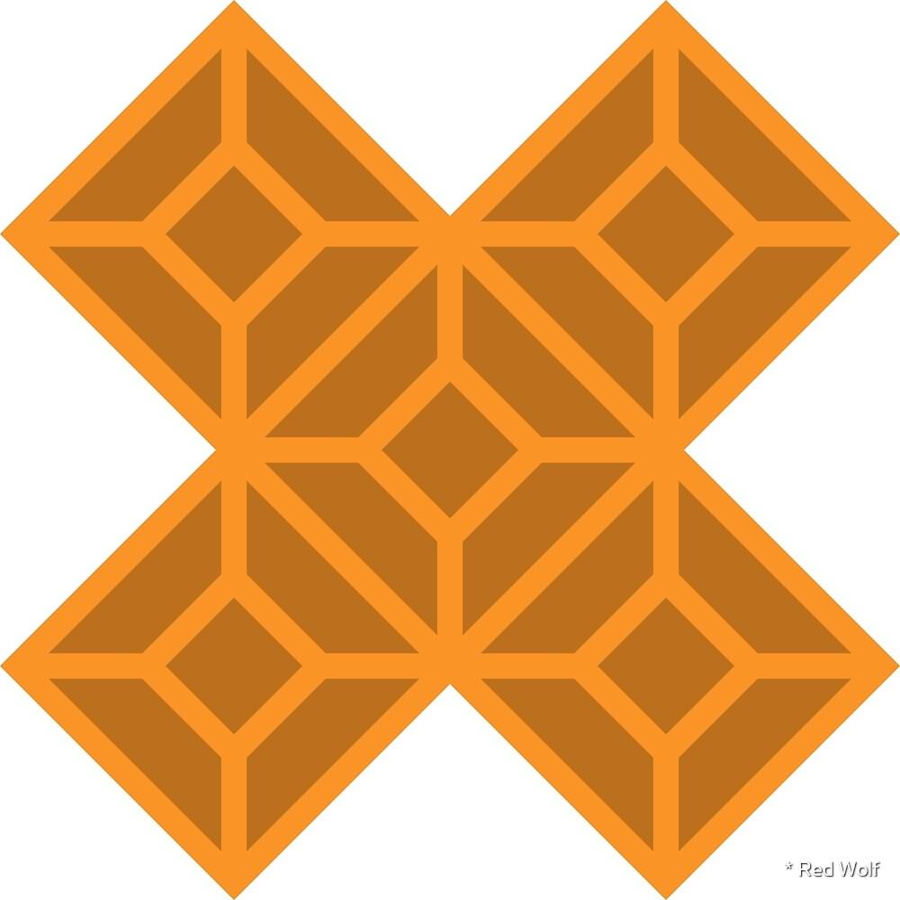 Geometric Pattern: Diamond Tile: Dark Orange by * Red Wolf
