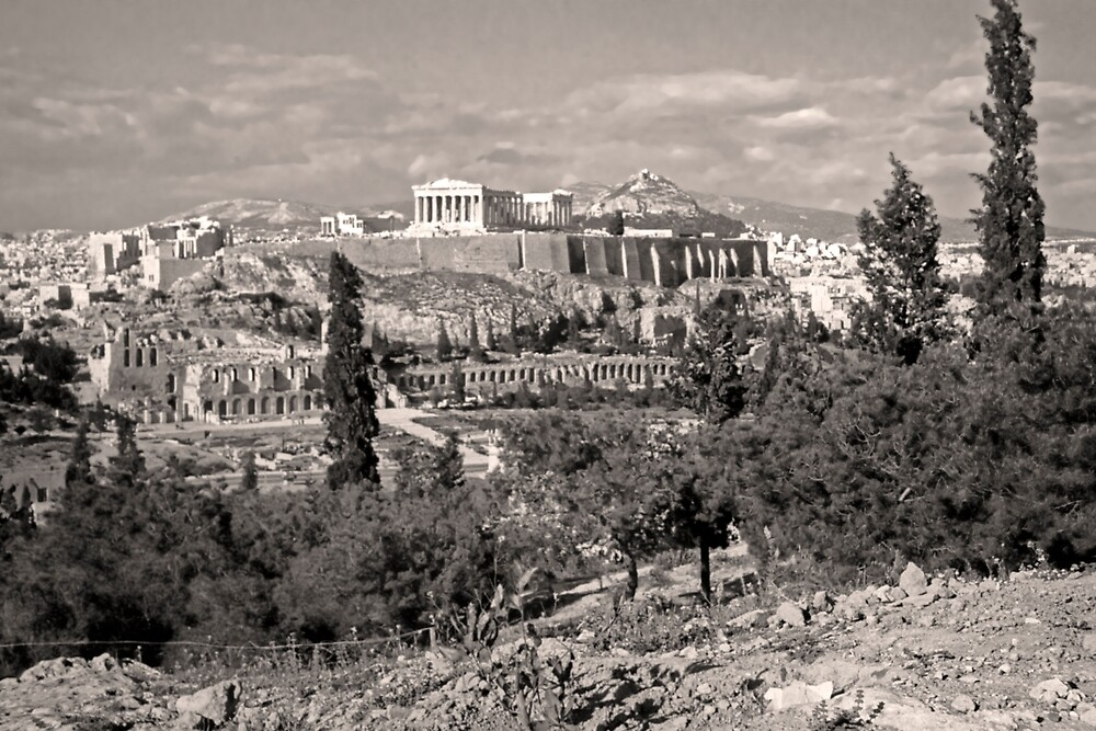 Athenian Acropolis from Philopappou Hill, 1960, Sepia by Priscilla Turner