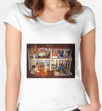 DOLLS IN DOLL HOUSE PICTURE and OR CARD,KIDS TRAVELS MUGS,DOLLS DOLL HOUSE DECORATIVE PILLOW AND OR TOTE BAG Women's Fitted Scoop T-Shirt