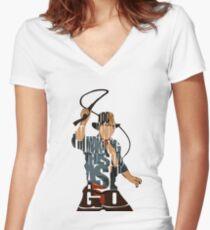 Indiana Jones Women's Fitted V-Neck T-Shirt