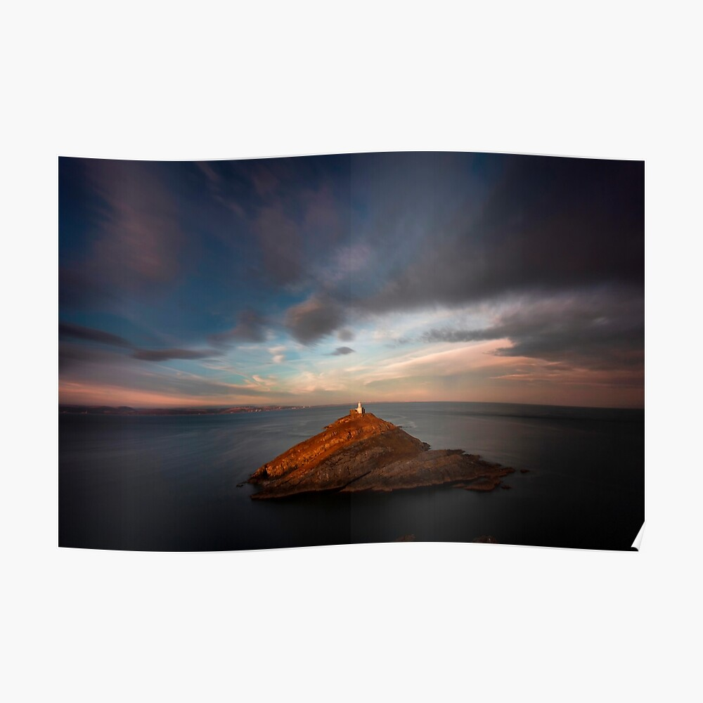 Sunlight on Mumbles Lighthouse Poster
