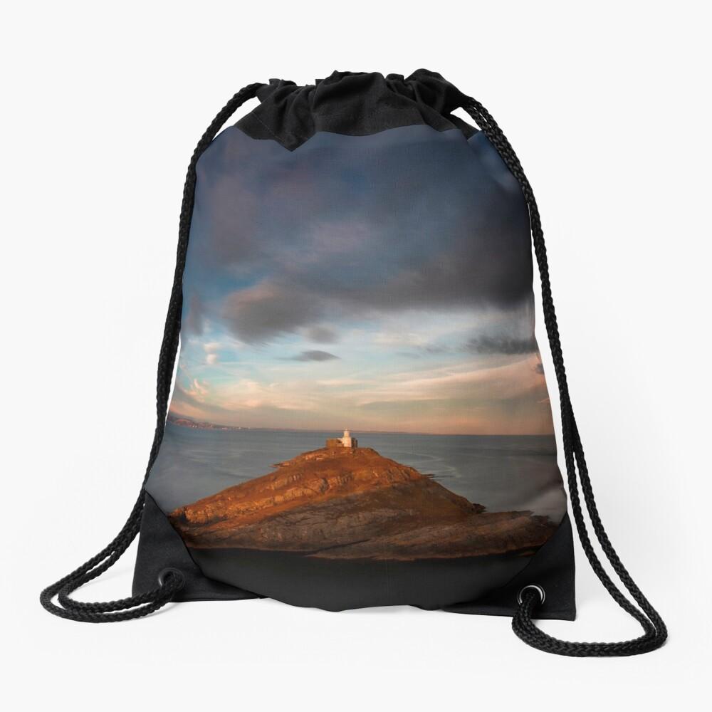 Sunlight on Mumbles Lighthouse Drawstring Bag