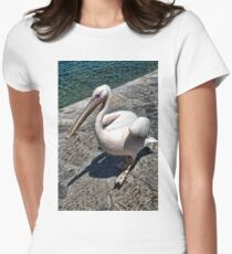 Pelican of Mykonos Island Petros the Pelican-JOURNAL,PILLOW,TOTE BAG,ECT. Women's Fitted T-Shirt