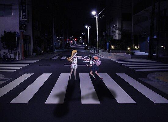 Monogatari – Mayoi and Shinobu crosswalk by gentlemenwalrus