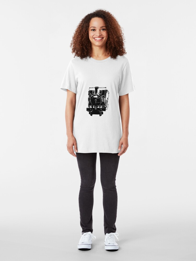 Alternate view of Isle of Man Steam Train and Carriages Slim Fit T-Shirt