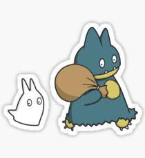 Munchlax and Chibi Totoro Sticker! Sticker