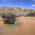 Bedruthan Rocks and Sand by SylviaHardy