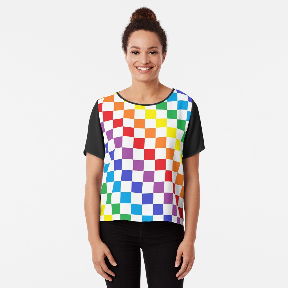 Checkered Rainbow  Chiffon Top