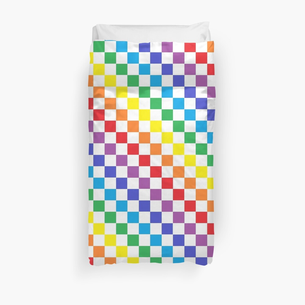 Checkered Rainbow  Duvet Cover