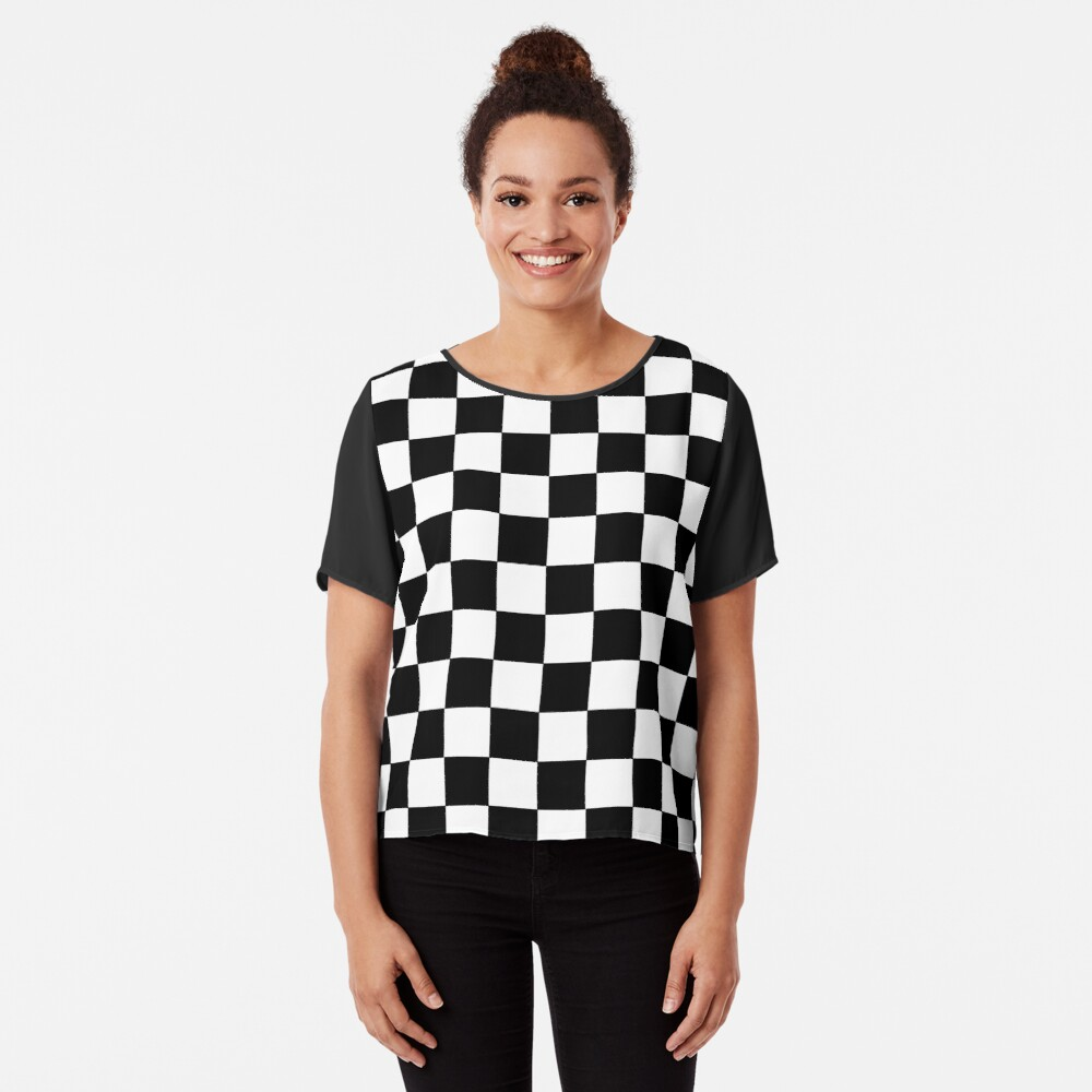 Checkered Black and White Chiffon Top