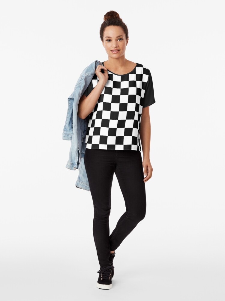Alternate view of Checkered Black and White Chiffon Top